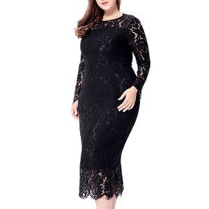 Dresses & Skirts - Casablanca Plus Fine Lace Elegant Midi Dress, 1-5X